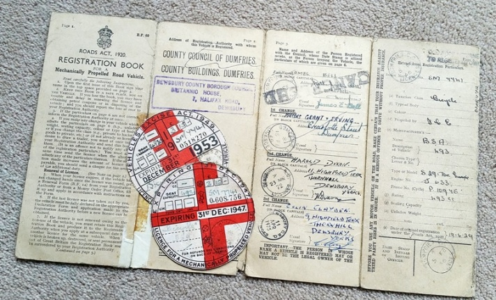 1929 BSA Sloper motorcycle log book and tax discs