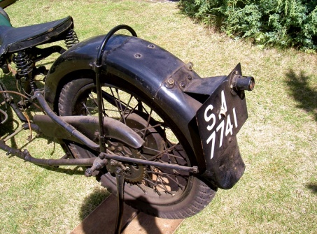 1929 BSA Sloper motorcycle, incorrect rear end