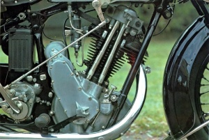 Timing side of 1930 OHV BSA Sloper with forged frame member