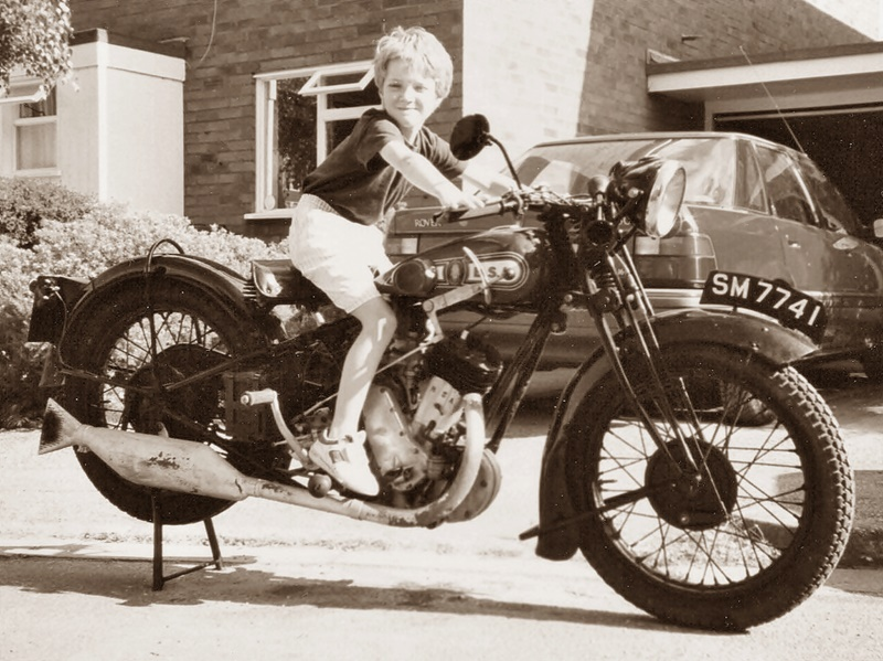1929 BSA Sloper motorcycle, with young rider
