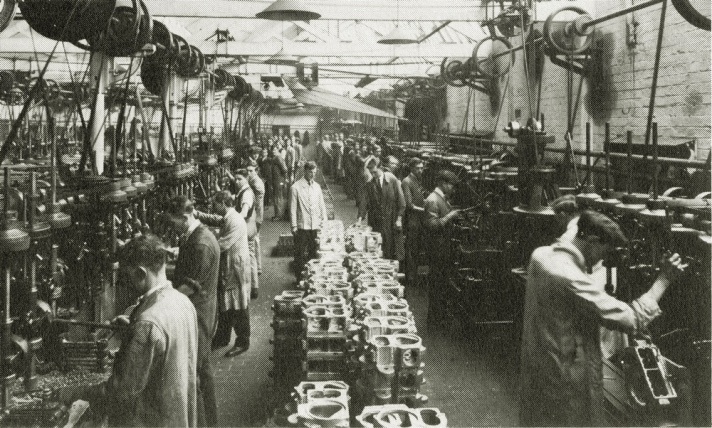 Machine Shop, Drilling Section - the Triumph motorcycle factory in 1924