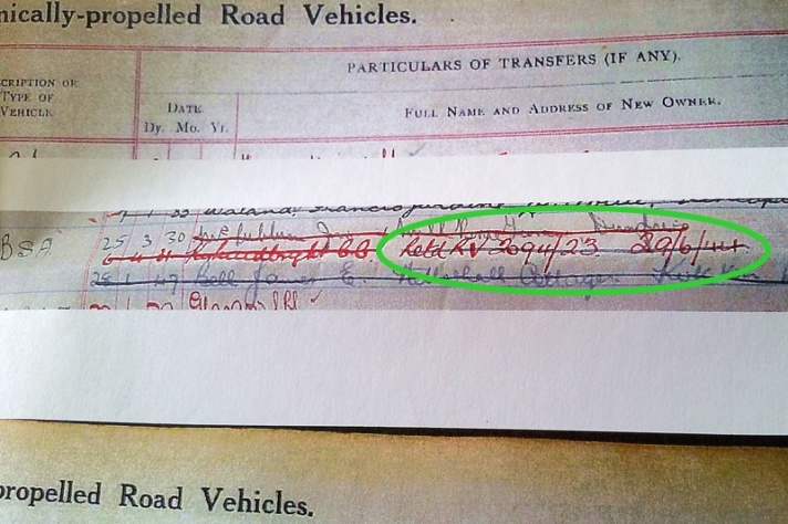 Requisitioned BSA Sloper Motorcycle, Local Authority register